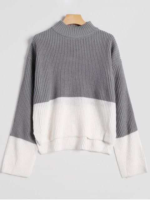 Suéter de cuello alto de gota baja hombro - Gris Talla única Mobile