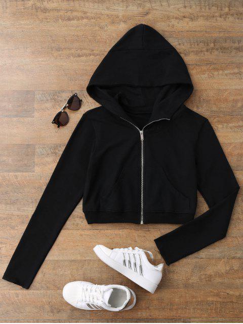 best Zip Up Cropped Sweatshirt - BLACK S Mobile