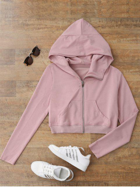 online Zip Up Cropped Sweatshirt - SHALLOW PINK L Mobile
