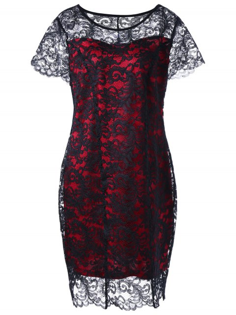 sale Plus Size Two Tone Lace Sheath Dress - RED WITH BLACK XL Mobile