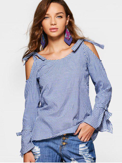 Blusa a cuadros de hombro frío - Azul M Mobile