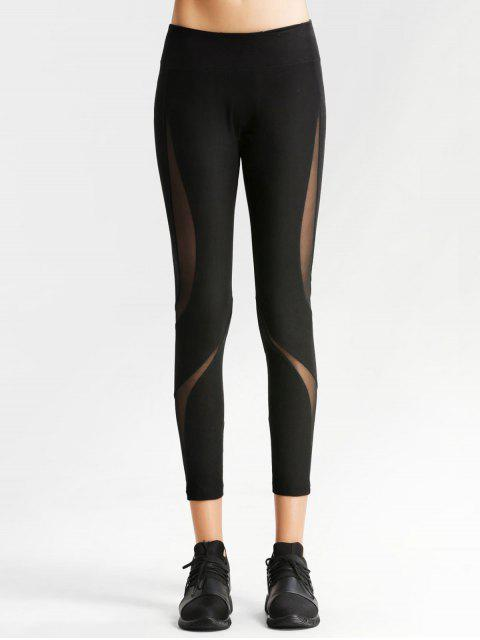 outfit Workout Mesh Panel Skinny Leggings - BLACK L Mobile