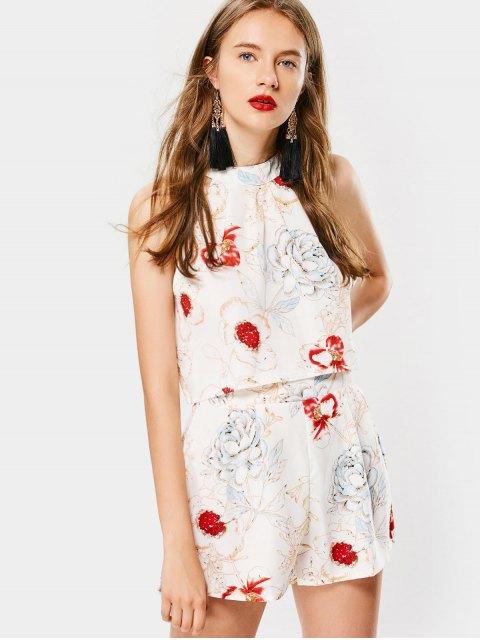 Débardeur Floral à Noeud Papillon et Short de Taille Haute - Floral M Mobile