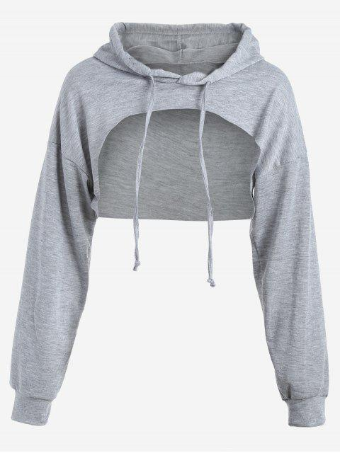 affordable Cut Out Drawstring Crop Hoodie - GRAY XL Mobile