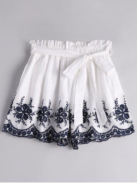 shops Floral Embroidered High Waist Belted Shorts - WHITE M Mobile