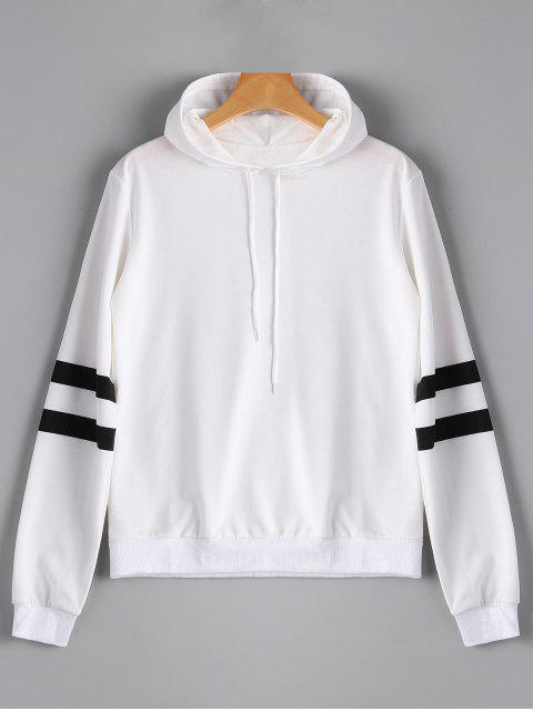 Casual Stripes Panel Hoodie - Blanco L Mobile