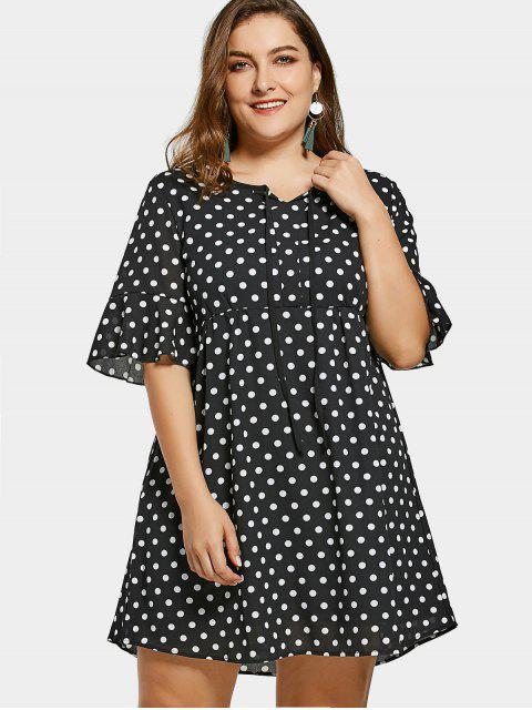 Übergröße gefaltetes Kleid aus Chiffon mit Polka Tupfen - Schwarz 4XL Mobile