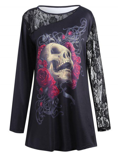 Halloween Spitze Einsatz Übergröße Blumen Schädel T-Shirt - Schwarz XL Mobile