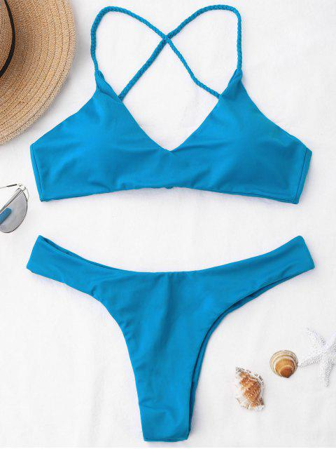 Braided correas cruz de espalda conjunto de bikini - Azul XL Mobile