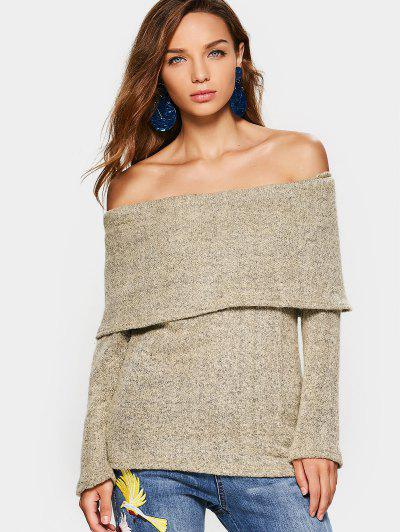 Off The Shoulder Flounce Sweater - Light Khaki S