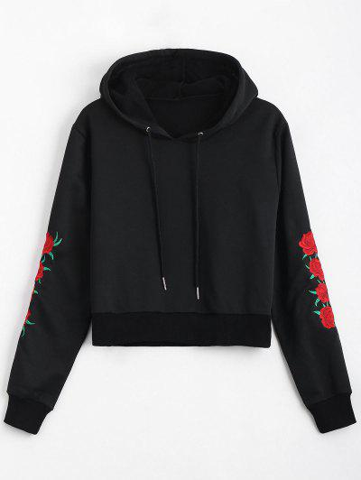 Floral Patched Drawstring Hoodie - Black L