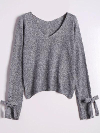 V Neck Bow Tied Sweater - Gray