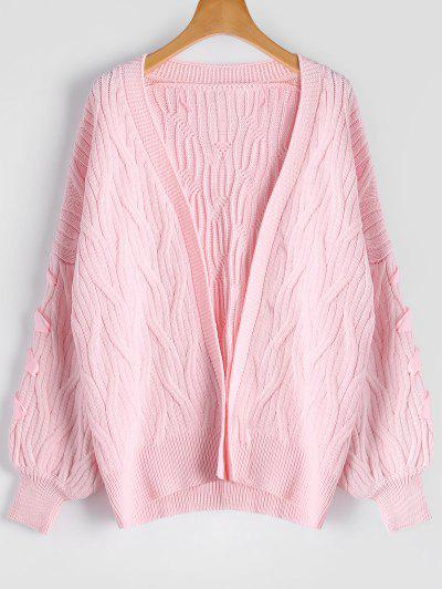Cable Knit Lace Up Oversized Cardigan - Pink