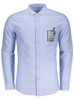 Camo De Manga Larga Impresa Camisa - Azul Claro 3xl