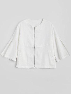 Zip Up Flare Sleeve Jacket - White 2xl