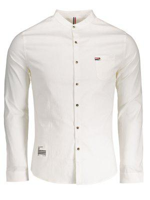 Front Pocket Button Up Shirt - White - White Xl