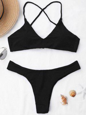 Braided Straps Cross Back Bikini Set - Black - Black Xl