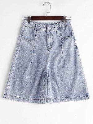 Fifth High Waisted Denim Shorts - Denim Blue S