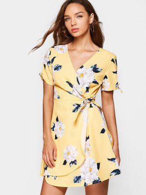 V Neck Flower Print Wrap Dress - Floral Xl