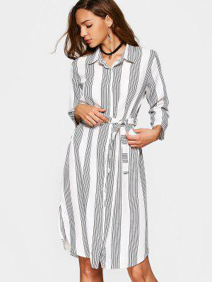 Button Up Slit Belted Striped Dress - Stripe Xl