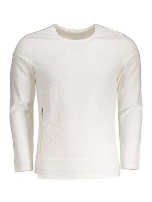 Zippered Cotton Long Sleeve Top - White - White 3xl