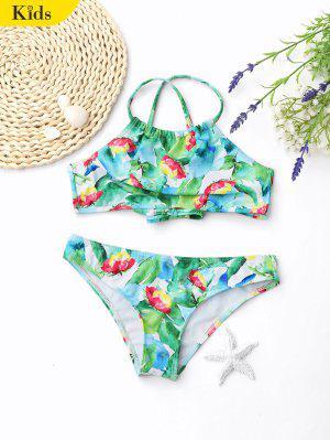Cross Back Leaf Print Kid Bikini - Green - Green 7t