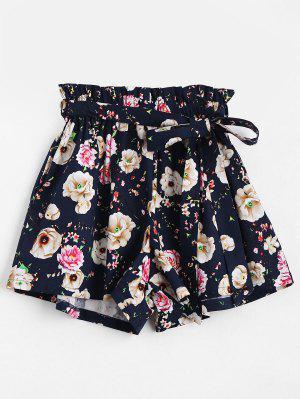 Pantalones Cortos De Cintura Alta - Floral