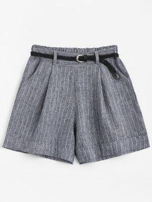 Pantalones Cortos De Cintura Alta Con Cinturón - Gris