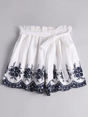 Floral Bordado De Alta Cintura Cinturón Cortos - Blanco S