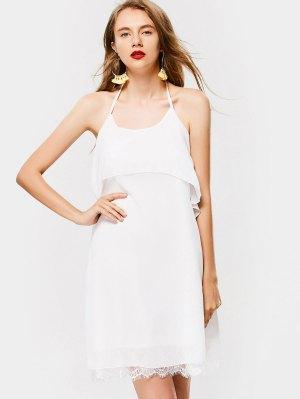 Overlap Criss Cross Lace Trim Mini Dress - White Xl