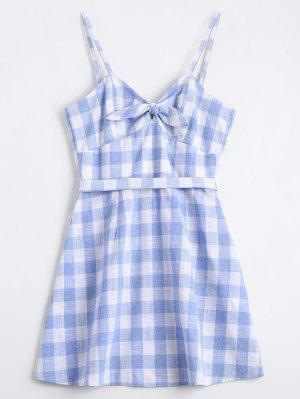 Belted Bowknot Checked Mini Dress - Checked S