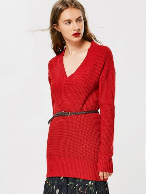 Drop Shoulder V Neck Chunky Sweater - Red - Red