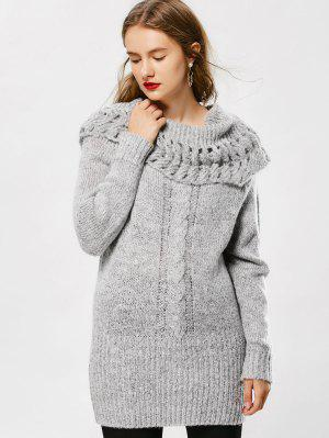 Cowl Neck Cable Knit Sweater - Gray - Gray