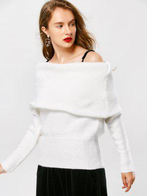 Pullover Off The Shoulder Sweater - White - White