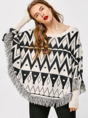 Tassel Zig Zag Cape Sweater - Geometric Print - Geometric Print