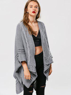 Asymmetric Cable Knit Cardigan - Gray - Gray