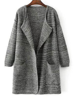 Open Front Heathered Knit Cardigan With Pockets - Deep Gray - Deep Gray
