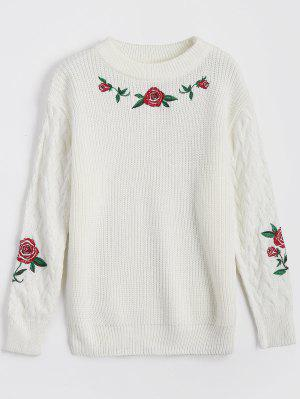Floral Embroidery Chunky Sweater - White - White