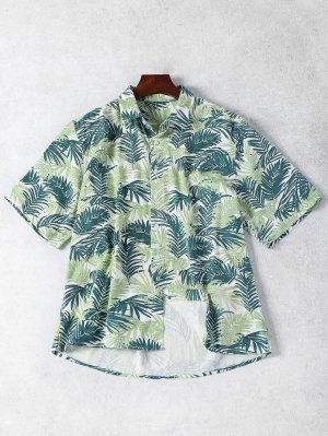 Half Sleeve Leaf Print Denim Shirt