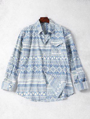 Camisa Geométrica Del Modelo Del Bolsillo - Azul Y Blanco Xl