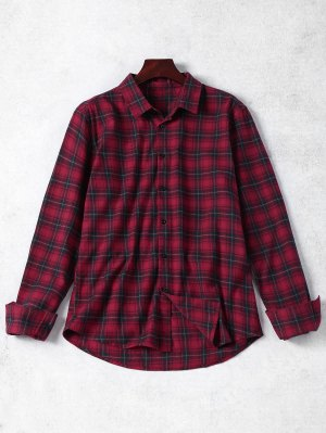 Checked Button Up Shirt - Red Xl