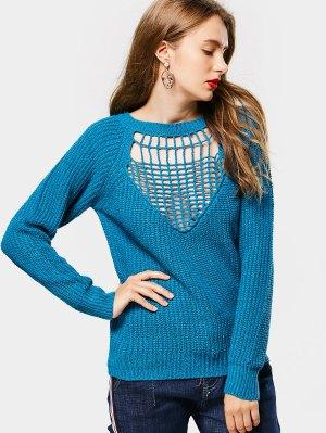 Raglan Sleeve Cut Out Chunky Sweater - Blue - Blue