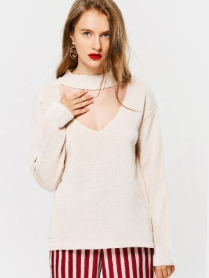 Loose High Neck Choker Sweater - Off-white - Off-white