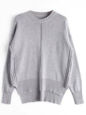 Loose Side Zip High Low Sweater - Gray - Gray
