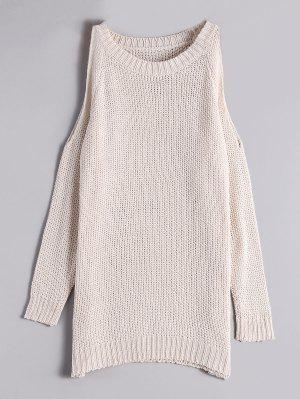Loose Long Cold Shoulder Sweater - Off-white - Off-white