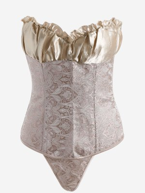 Jacquard Lace-up Strapless Bra Corset - Champagne Gold - Champagne Gold S