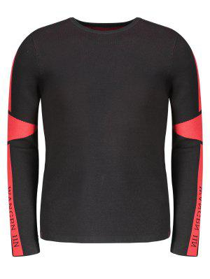 Two Tone Sweater - Red With Black - Red With Black 2xl