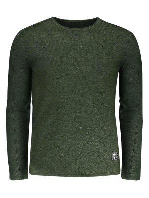 Cotton Distressed Sweater - Army Green - Army Green 3xl
