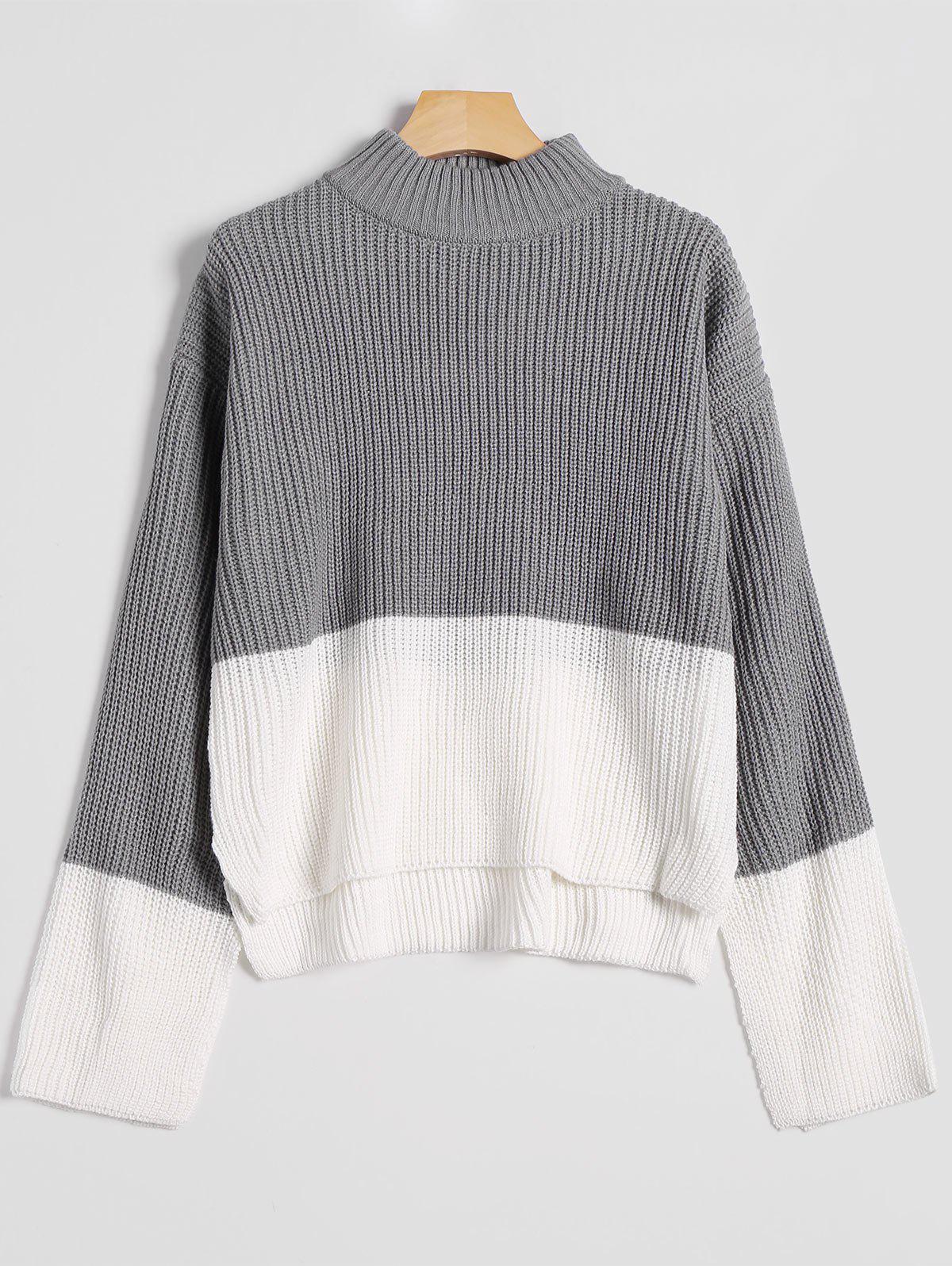 Drop Shoulder High Low Mock Neck Sweater