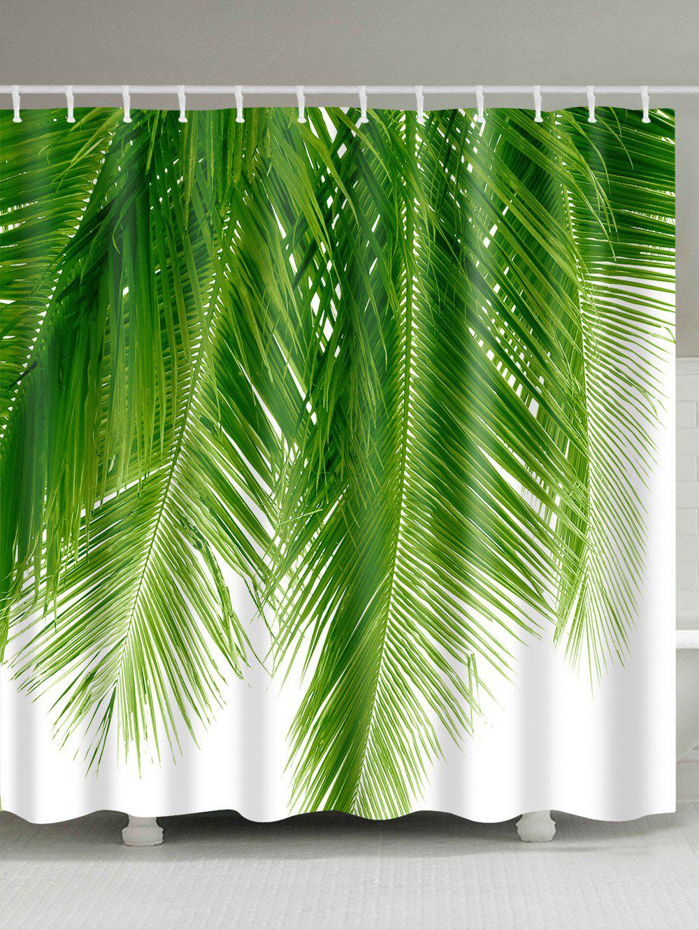 Palm Tree Leaf Print Waterproof Fabric Bathroom Shower Curtain